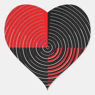 Energía roja Chakra - rayas negras de la plata n Pegatina En Forma De Corazón