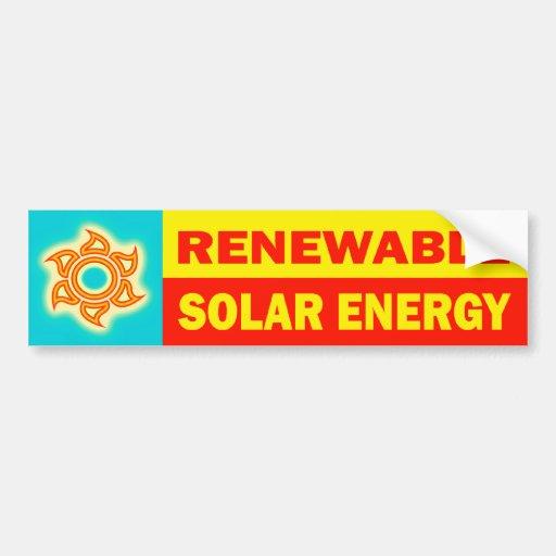 Energía solar renovable etiqueta de parachoque