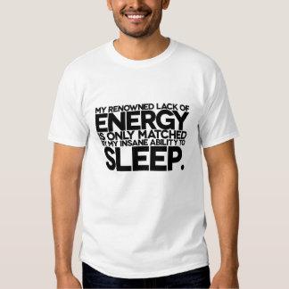 Energía y sueño - palabras perezosas a vivir cerca polera