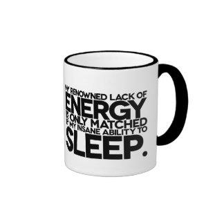 Energía y sueño - palabras perezosas a vivir cerca taza de dos colores