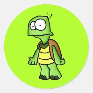 Enérgico la tortuga etiqueta redonda