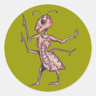 ENÉRGICO las etiquetas de la hormiga Pegatina Redonda