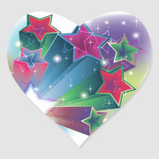 Energizing colorful stars heart sticker