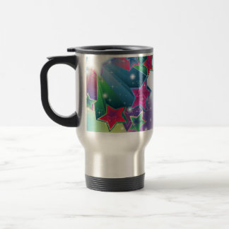 Energizing colorful stars travel mug
