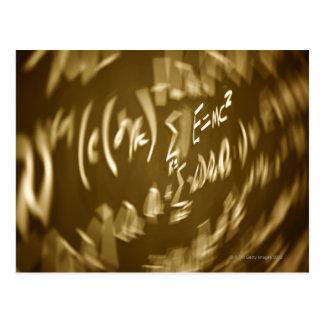 Energy equation on a chalkboard postcard