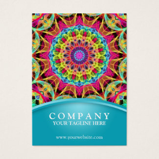 Energy Flower Mandala - chubby blue Business Card