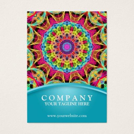 Energy Flower Mandala - chubby blue Business Card