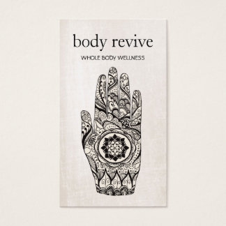 Energy Healer and Yoga Teacher Henna Hand Business Card