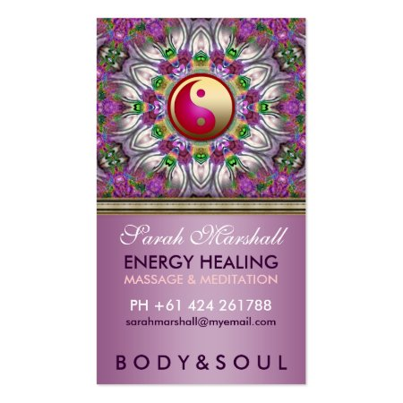 Purple Pearl Star Yin Yang Holistic Health Business Cards