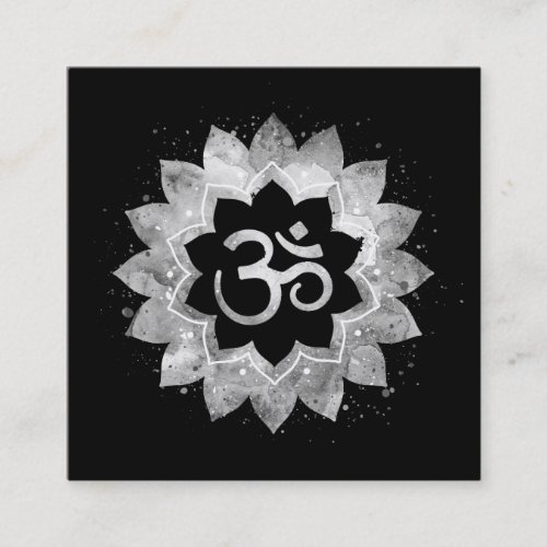 Energy Healing Lotus Mandala Aum Om Symbol Square Business Card