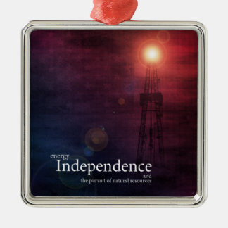 Energy Independence Square Metal Christmas Ornament