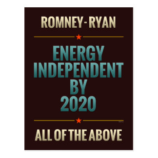 Energy Independent By 2020 Postcard