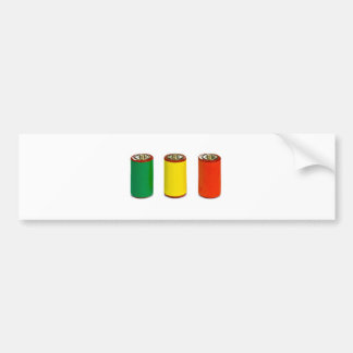 energy management concept - green, red and yellow bumper sticker