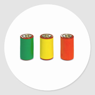 energy management concept - green, red and yellow classic round sticker