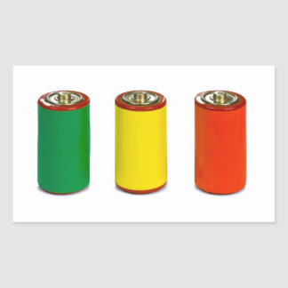 energy management concept - green, red and yellow rectangular stickers