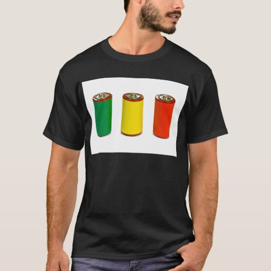 energy management concept - green, red and yellow T-Shirt