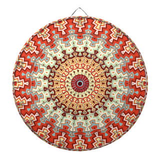Energy Mandala Colorful Kaleidoscope Design Dartboard With Darts