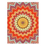 Energy Mandala Colorful Kaleidoscope Design Post Cards