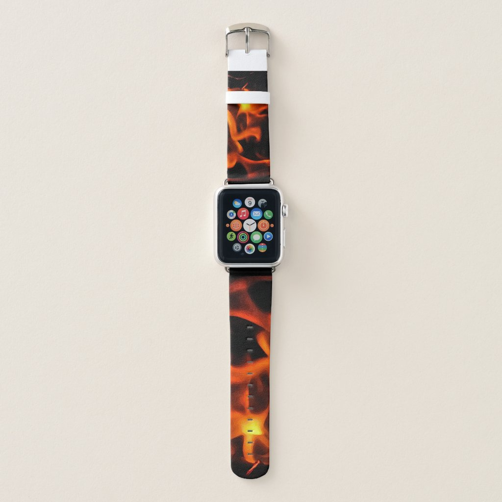 Energy of Fire in Orange Yellow and Black Flames Apple Watch Band