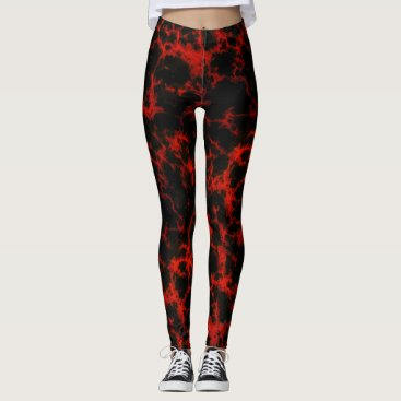 Halloween Themed Energy Red and Black Flames Leggings