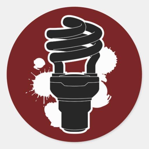 Energy Saving Bulb Round Sticker
