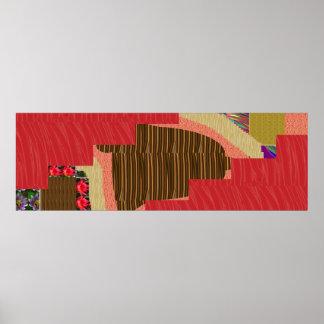 ENERGY STRIP silken red n artistic WAVE PATTERN Poster