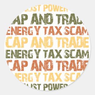 Energy Tax Scam Classic Round Sticker