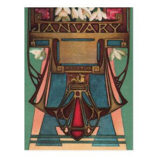 Enero - acuario tarjeta postal
