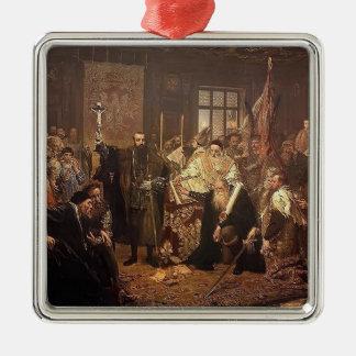 Enero Matejko- la unión de Lublin Adorno Cuadrado Plateado