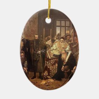 Enero Matejko- la unión de Lublin Adorno Ovalado De Cerámica