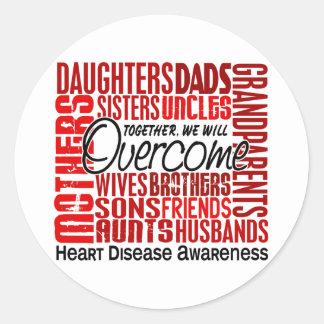 Enfermedad cardíaca cuadrada de la familia etiquetas redondas