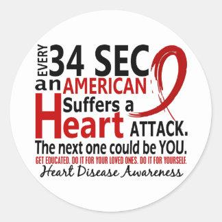 Enfermedad cardíaca de cada 34 segundos/ataque etiqueta redonda