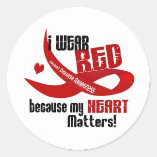 Enfermedad cardíaca llevo el rojo para MÍ 33 Pegatinas Redondas