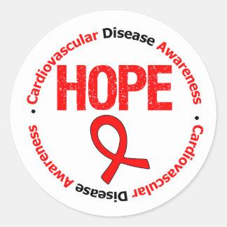 Enfermedad cardiovascular de la esperanza pegatina redonda