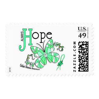 Enfermedad celiaca de la mariposa del vitral timbre postal