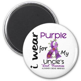 Enfermedad de Alzheimers llevo la púrpura para mi  Imán Redondo 5 Cm