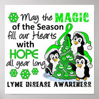 Enfermedad de Lyme de los pingüinos del navidad Poster