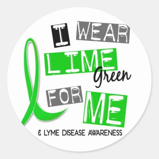 Enfermedad de Lyme llevo la verde lima para mí 37 Pegatina Redonda