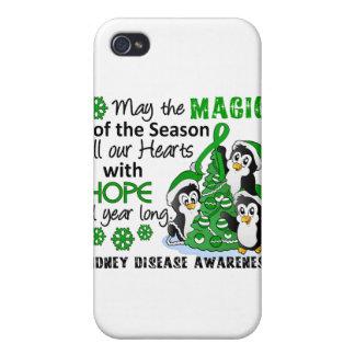 Enfermedad de riñón de los pingüinos del navidad iPhone 4 carcasas