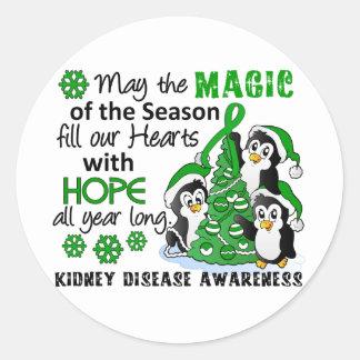 Enfermedad de riñón de los pingüinos del navidad pegatinas redondas