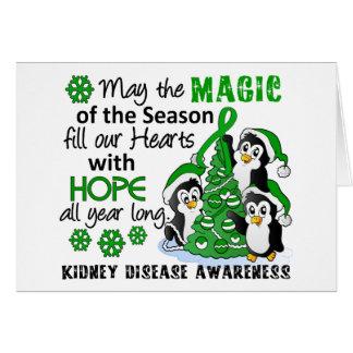 Enfermedad de riñón de los pingüinos del navidad tarjeton
