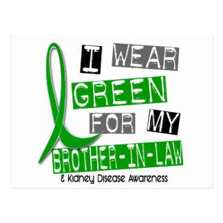 Enfermedad de riñón llevo el verde para mi cuñado tarjetas postales