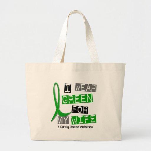 Enfermedad de riñón llevo el verde para mi esposa  bolsa tela grande