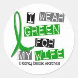 Enfermedad de riñón llevo el verde para mi esposa pegatina redonda