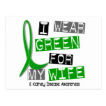 Enfermedad de riñón llevo el verde para mi esposa  tarjetas postales