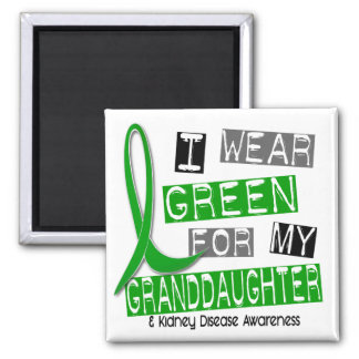 Enfermedad de riñón llevo el verde para mi nieta imán cuadrado