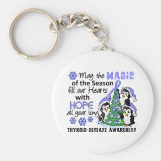 Enfermedad de tiroides de los pingüinos del navida llavero redondo tipo pin