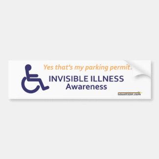 Enfermedad invisible de la silla de ruedas pegatina para auto