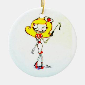 enfermera adorno navideño redondo de cerámica