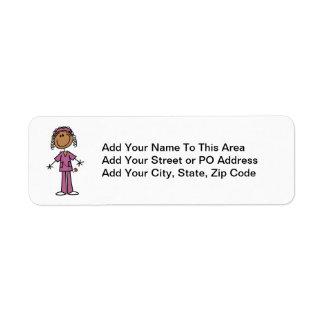 Enfermera afroamericana etiquetas de remite